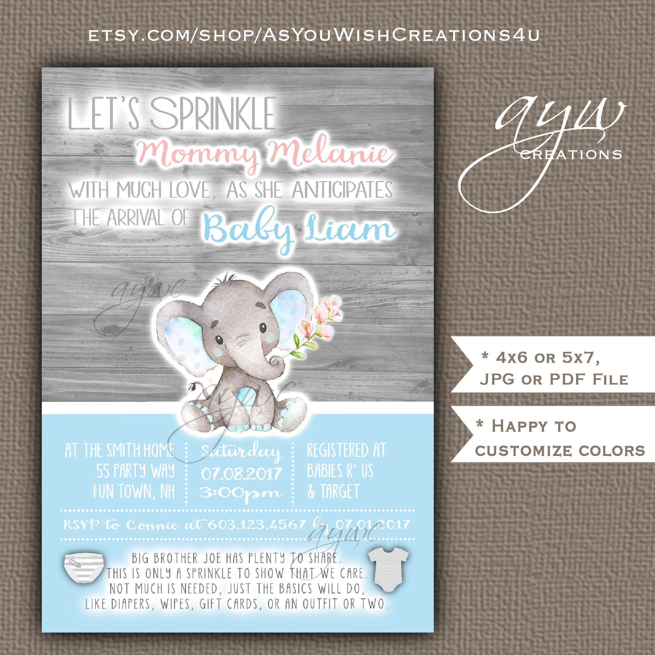 Cute Elephant Baby Shower Invitations Boy Blue Grey Elephant Baby ...