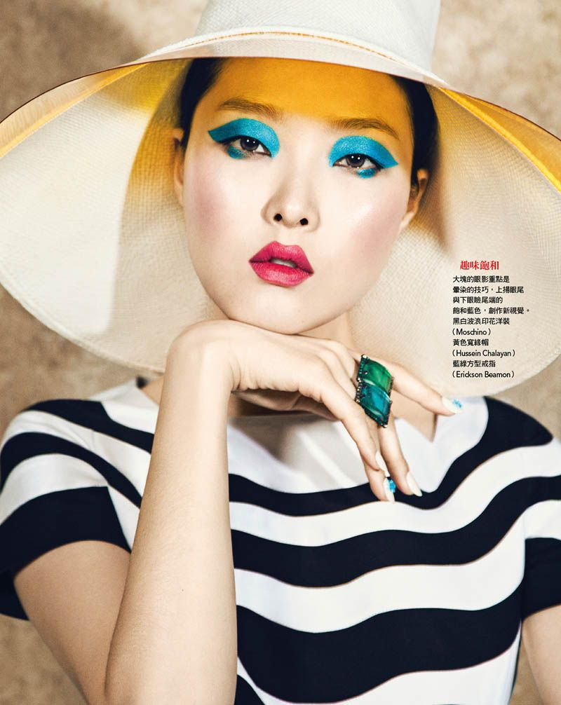 Sung Hee Kim dons blue eyeshadow for this Vogue Taiwan shoot. (Photo by Yossi Michaeli)
