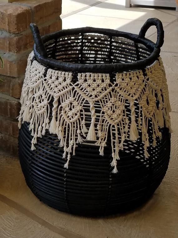 Large Wicker Basket with Macrame trim | Etsy #cuteumbrellas