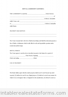 Sample Printable Rental Agreement Generic Form  Latest Sample