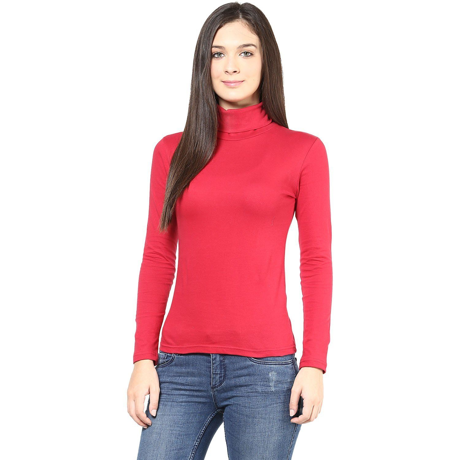Hypernation Red Cotton High Neck T-Shirts for Women Color