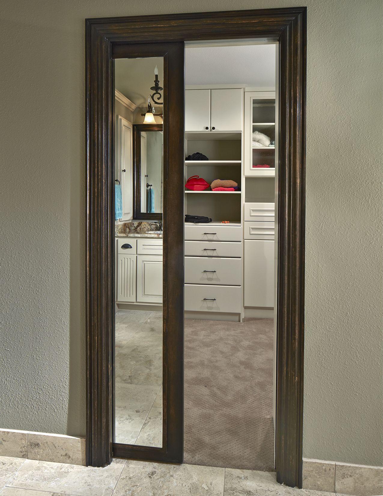 Old Shepard Framed Mirror Pocket Door Into Wellborn Distinctive