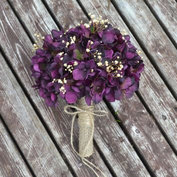 Rustic Wedding Purple Hydrangea Bouquet With Touches Of Baby S Breath