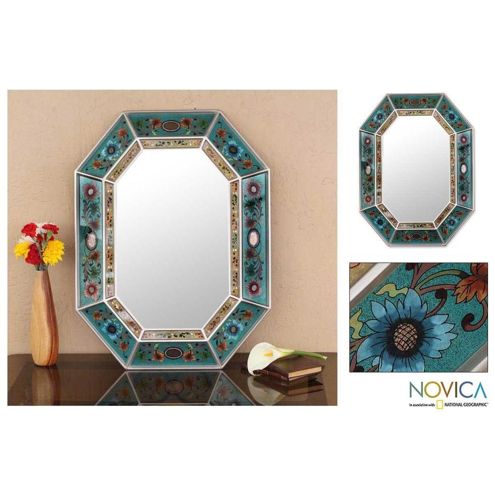 Reverse painted glass infinite aqua wall mirror peru reverse painted glass infinite aqua wall mirror peru overstock amipublicfo Choice Image