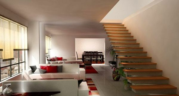 Moderne Innenarchitektur Wohnzimmer Sitzecke Polstermöbel Farben