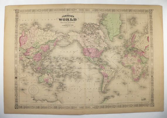 Antique World Map 1867 Johnson Map  World on Mercators Projection     Antique World Map 1867 Johnson Map  World on Mercators Projection  Vintage  Art Map