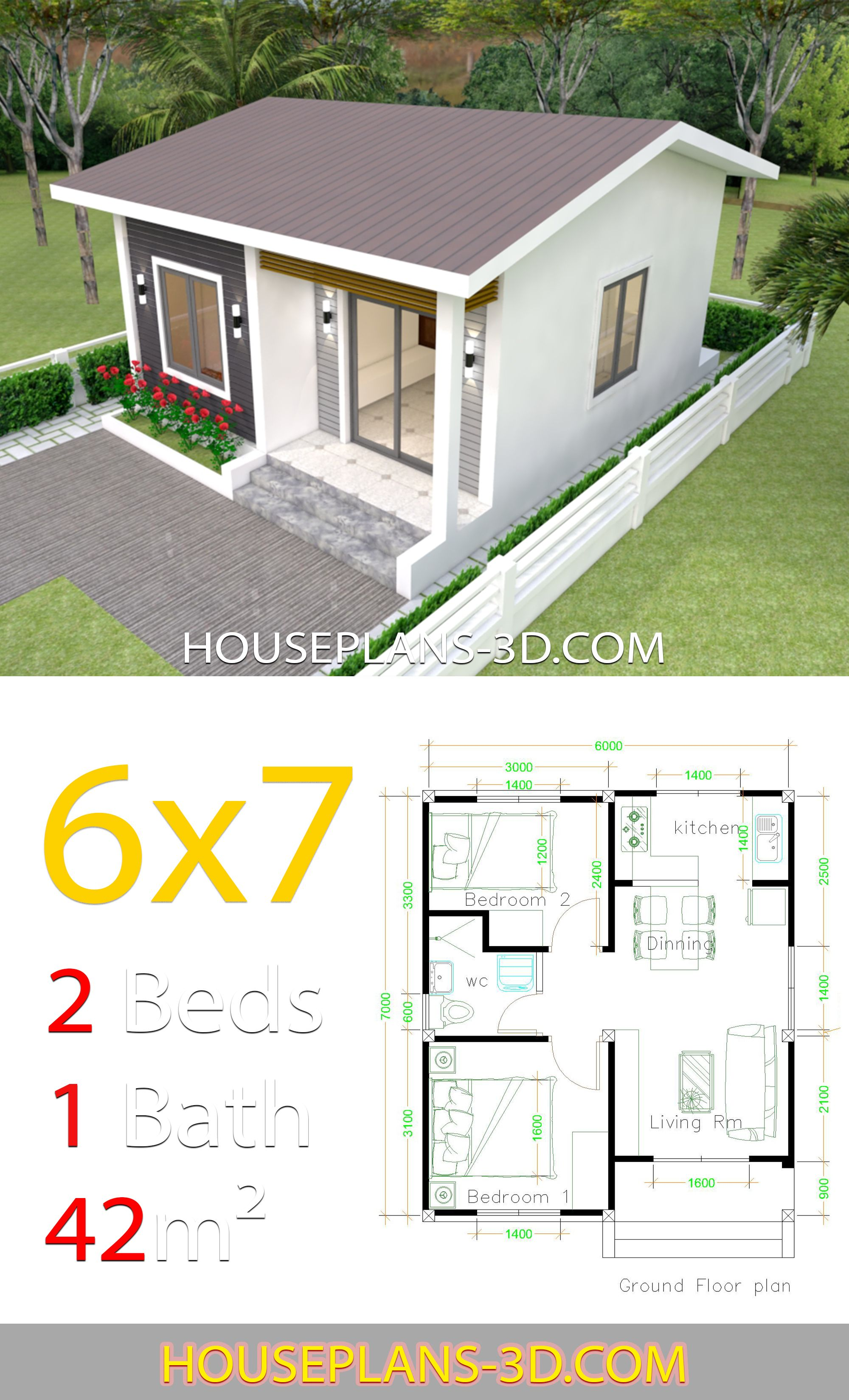 House Design 6x7 With 2 Bedrooms House Plans 3d In 2020 Sims House Plans Small House Design Small House Design Plans