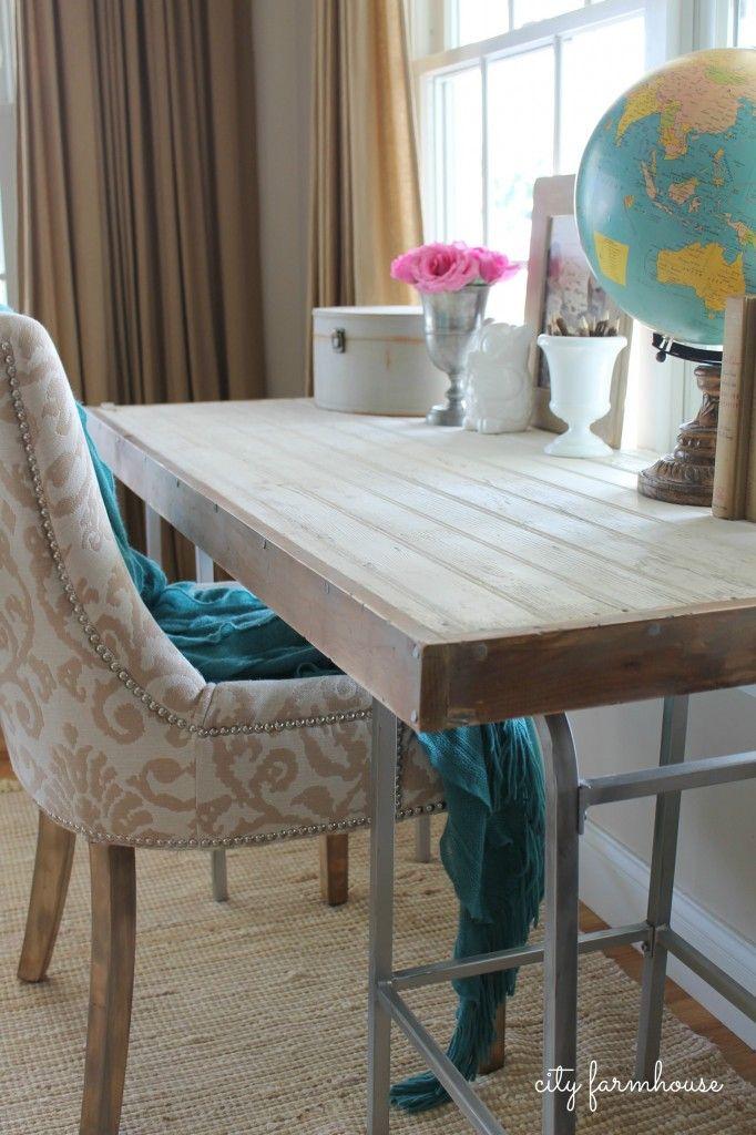 DIY Rustic Chic Industrial Bartsool Desk Affordable home