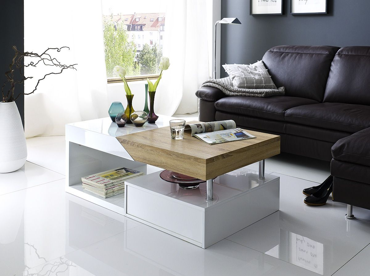 Moderner Design Couchtisch Fortuna Hochglanz Weiß Mit Funktioneller Schublade Hope White And Oak Living Room Tables Coffee Table Side