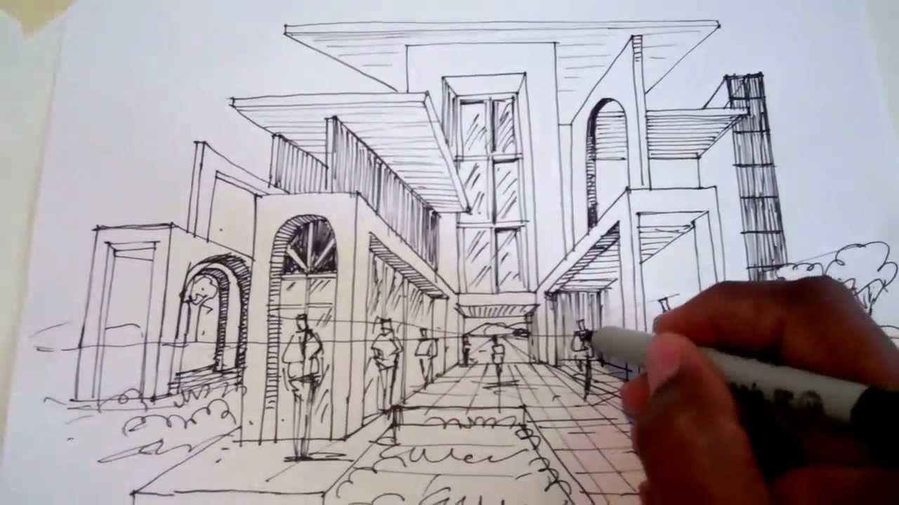 Dibujar usando un punto de fuga para la perspectiva arq for Exterior a un punto de fuga