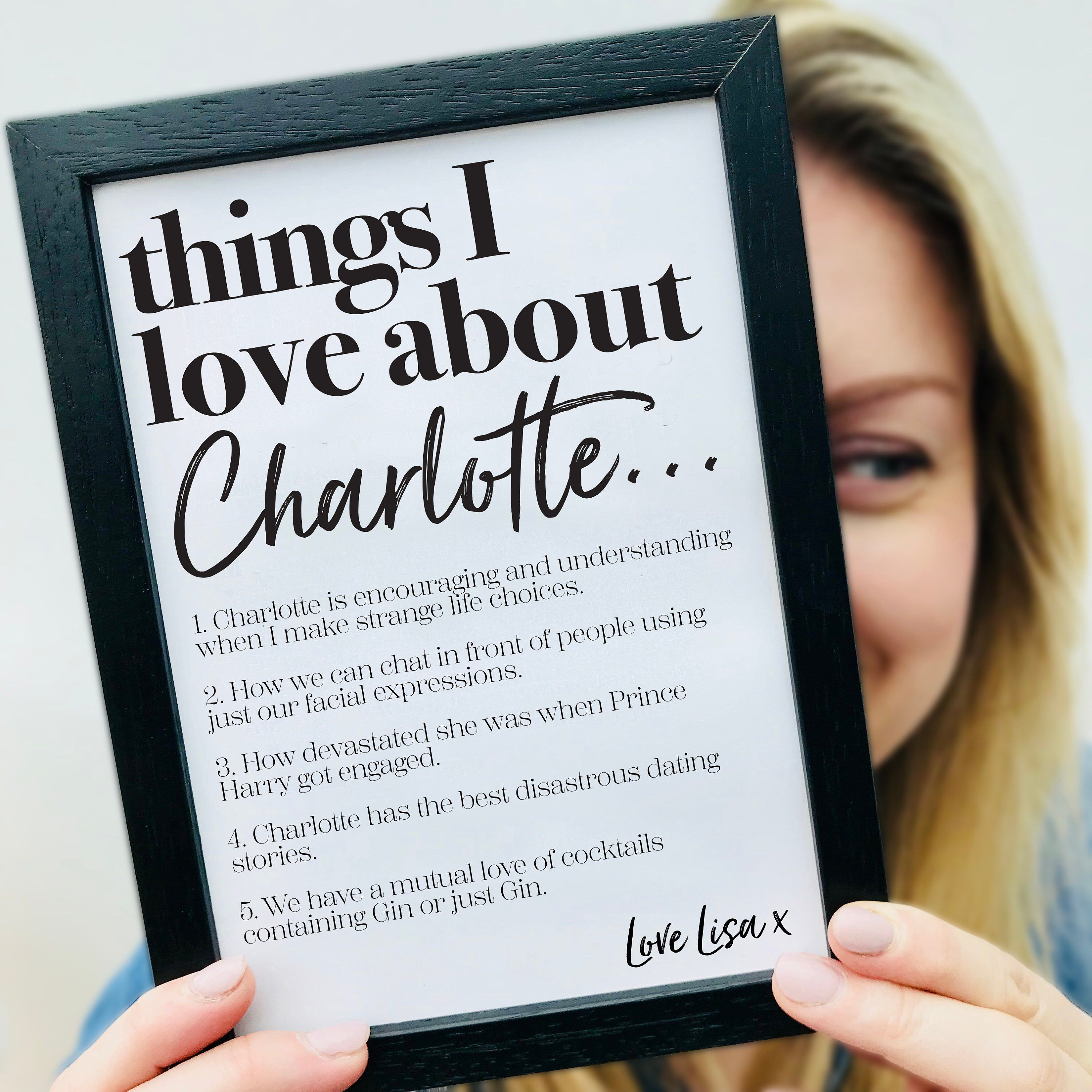 Things I Love About Print Friendship Gift I Love You Best