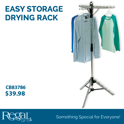 """EASY STORAGE DRYING RACK from Regal Gifts Space for up to 33 hangers. Lightweight and sturdy construction. Holds up to 40 lbs of total weight. Tripod design provides the sturdiest placement even in the tiniest places. Folds for easy storage. Comes in assorted colours - either black or blue connectors. 65""""H x 26""""W Product Number: CB83786 http://www.Regal.ca #clothes"""