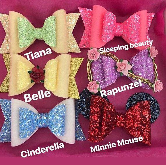 Disney princesses bow inspired , Belle -Aurora -Tiana- Rapunzel -Minnie Mouse-Cinderella , toddler bow, toddler hair clip, toddler headband