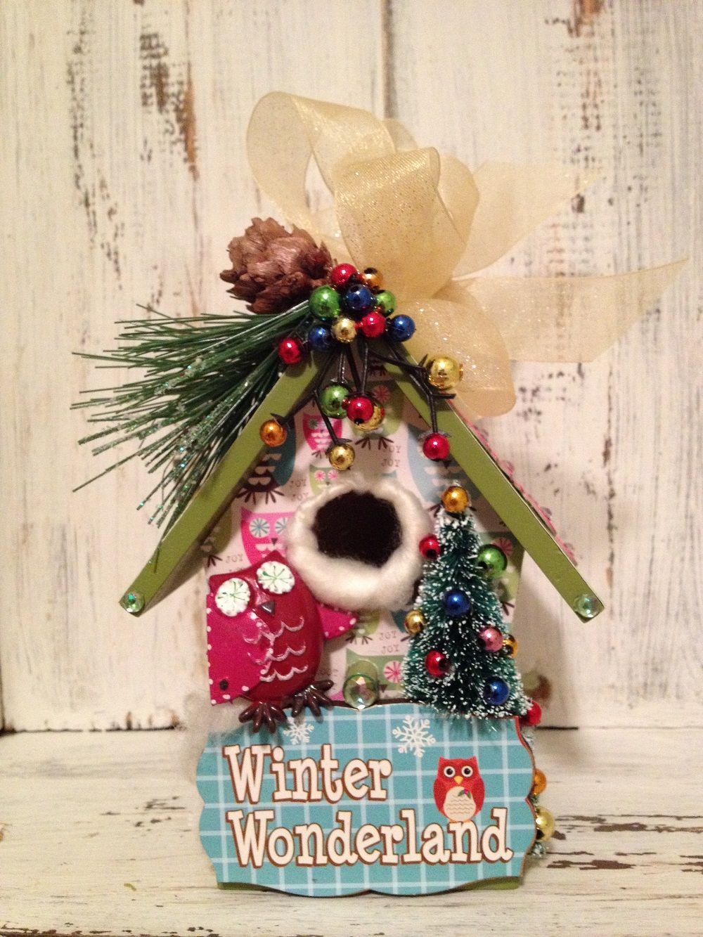 WINTER WONDERLAND Owl Birdhouse Christmas Ornament Decoration Gift | Birdhouse Gift Gallery
