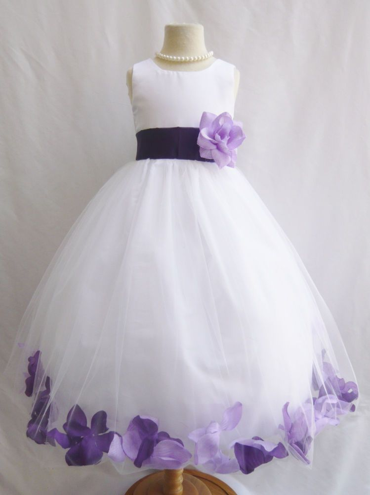 b52dbe0d6d4 White lilac dark purple lapis eggplant infant toddler teen flower girl dress