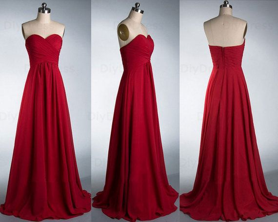 Dark Red Strapless Bridesmaid Dresses