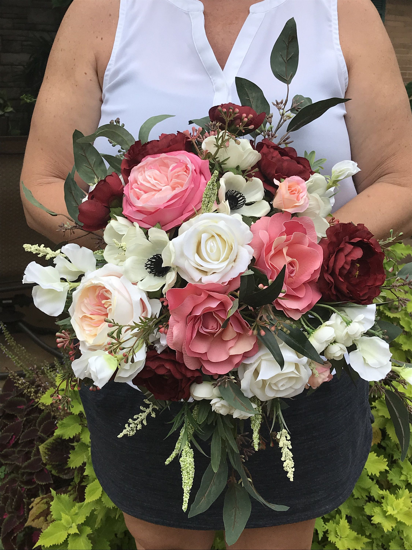 Large Modern Chic Burgundy Silk Cascading Bridal Bouquet-Burgundy Anemones Rose Bridal Bouquet-Peony Ranunculus-Mauve Burgundy Blush Bouquet #silkbridalbouquet