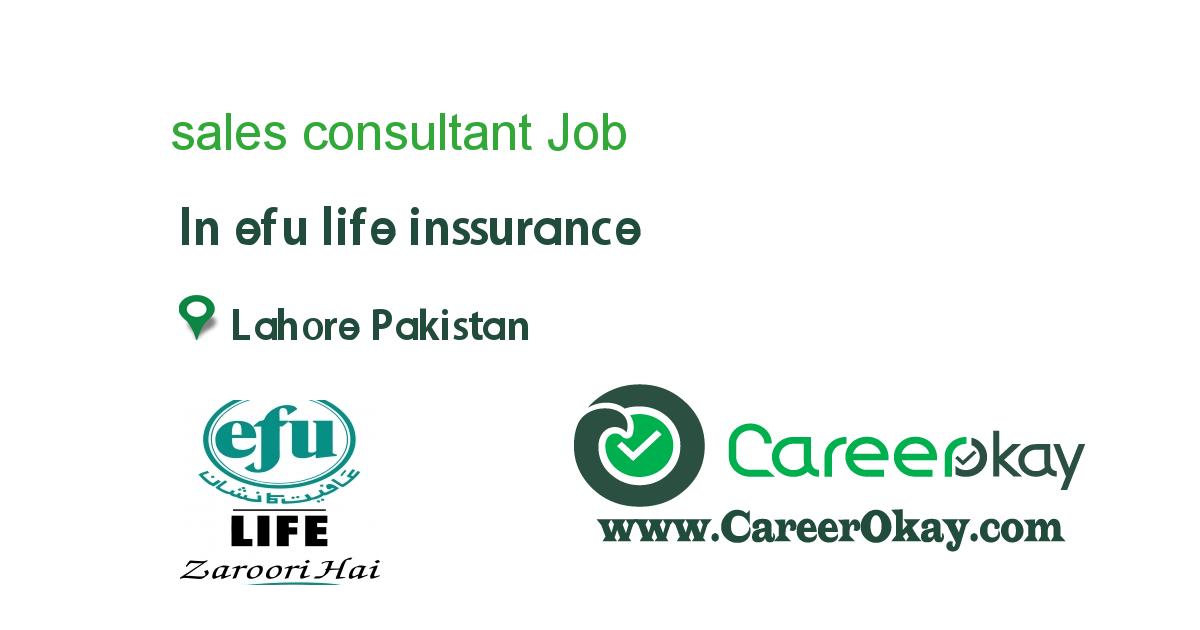 Sales Consultant Https Www Careerokay Com Job Job Listings Sales Consultant Efu Life Inssurance 94318 In 2020 Job Jobs In Pakistan Online Jobs