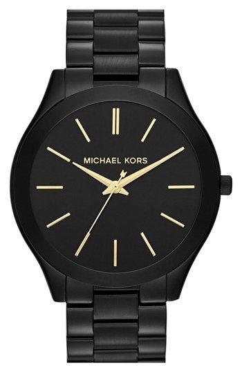Unisex Slim Runway Black-Tone Stainless Steel Bracelet Watch 42mm ... ac9cdd4a53