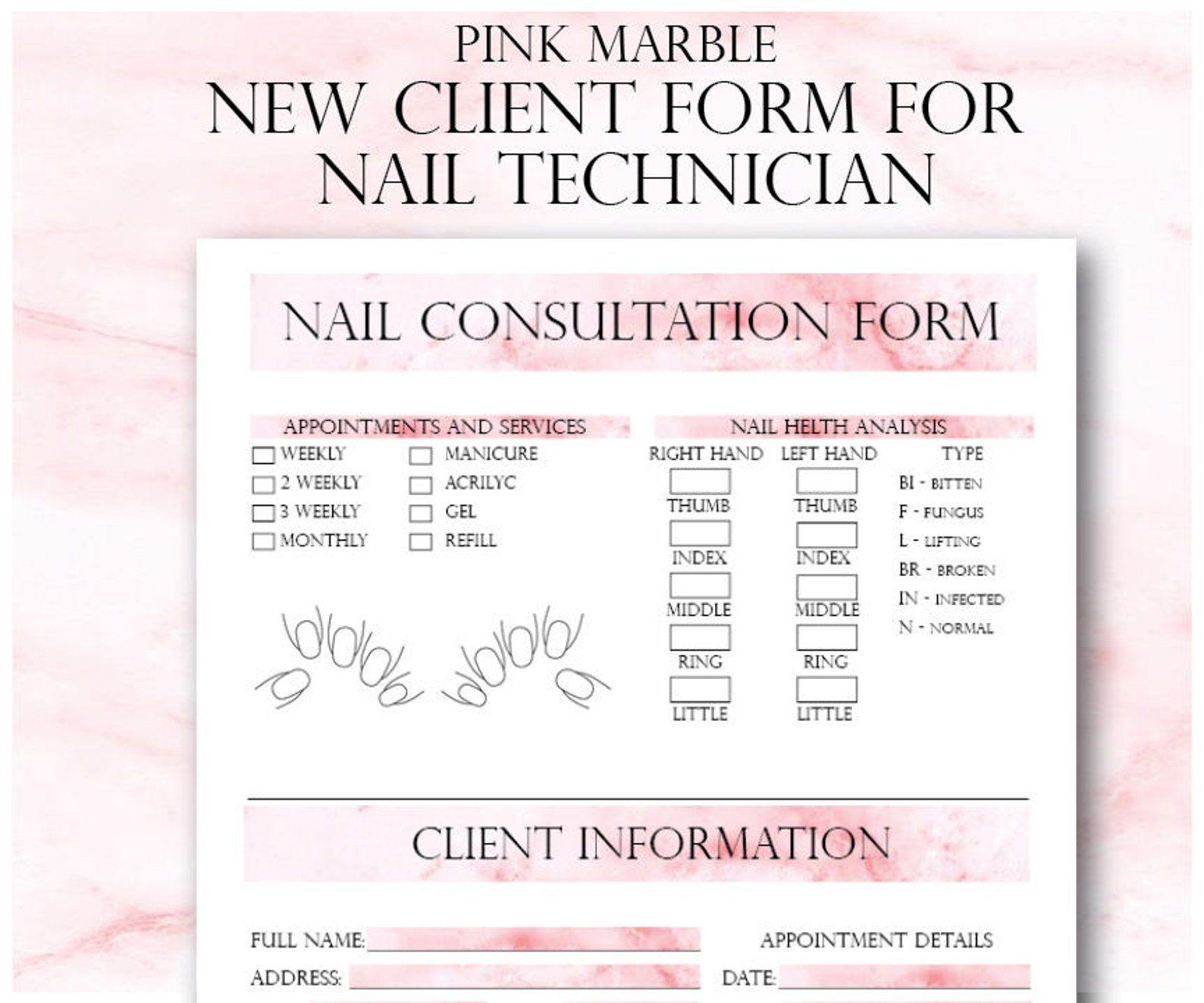 Pink Marble Nail Technician New Client Form Small