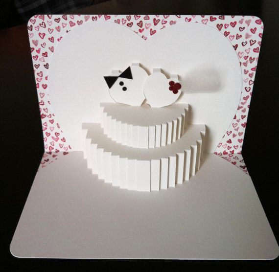 Free Shippingred Hearts Pop Up Wedding Card By Paperbowgal On Etsy 14 50