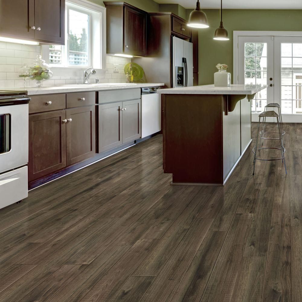 Vinyl Plank Flooring Kitchen Trafficmaster Allure Plus 5 In X 36 In Northern Hickory Grey