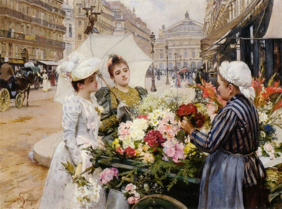 """The Flower Seller, Avenue de L'Opera, Paris"""" by Louis Marie de Schryver (1891)"""