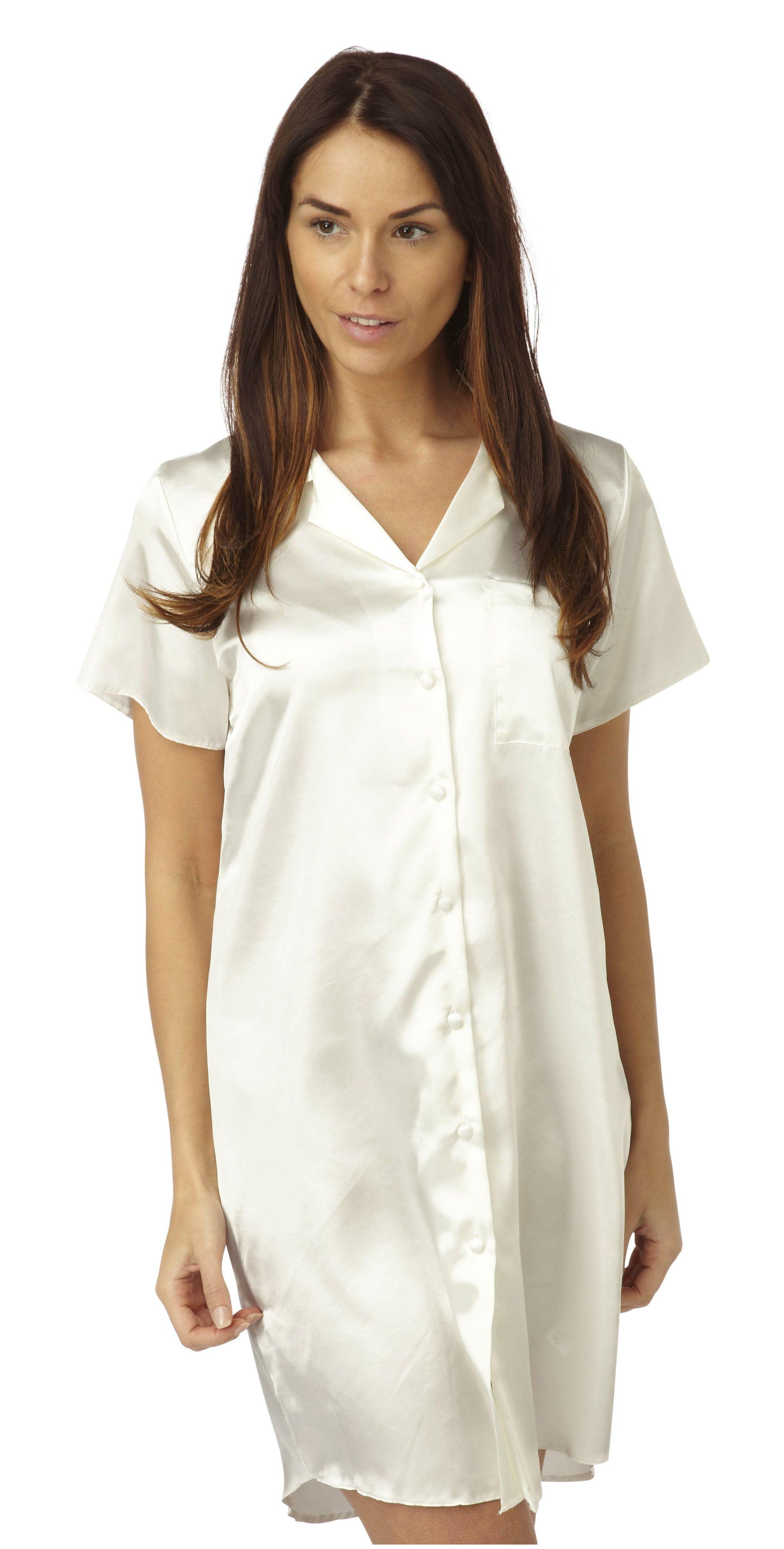 Ladies Satin 2 Piece Pyjamas Plain Ivory in Sizes 10//12-18//20