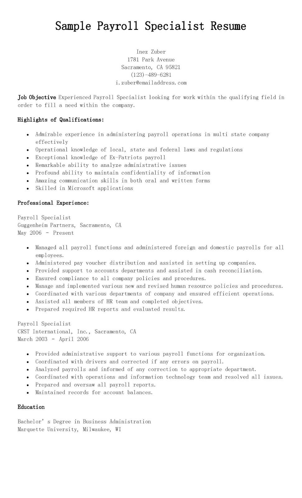 Sample Payroll Specialist Resume  resame  Resume Professional resume Cover letter for resume