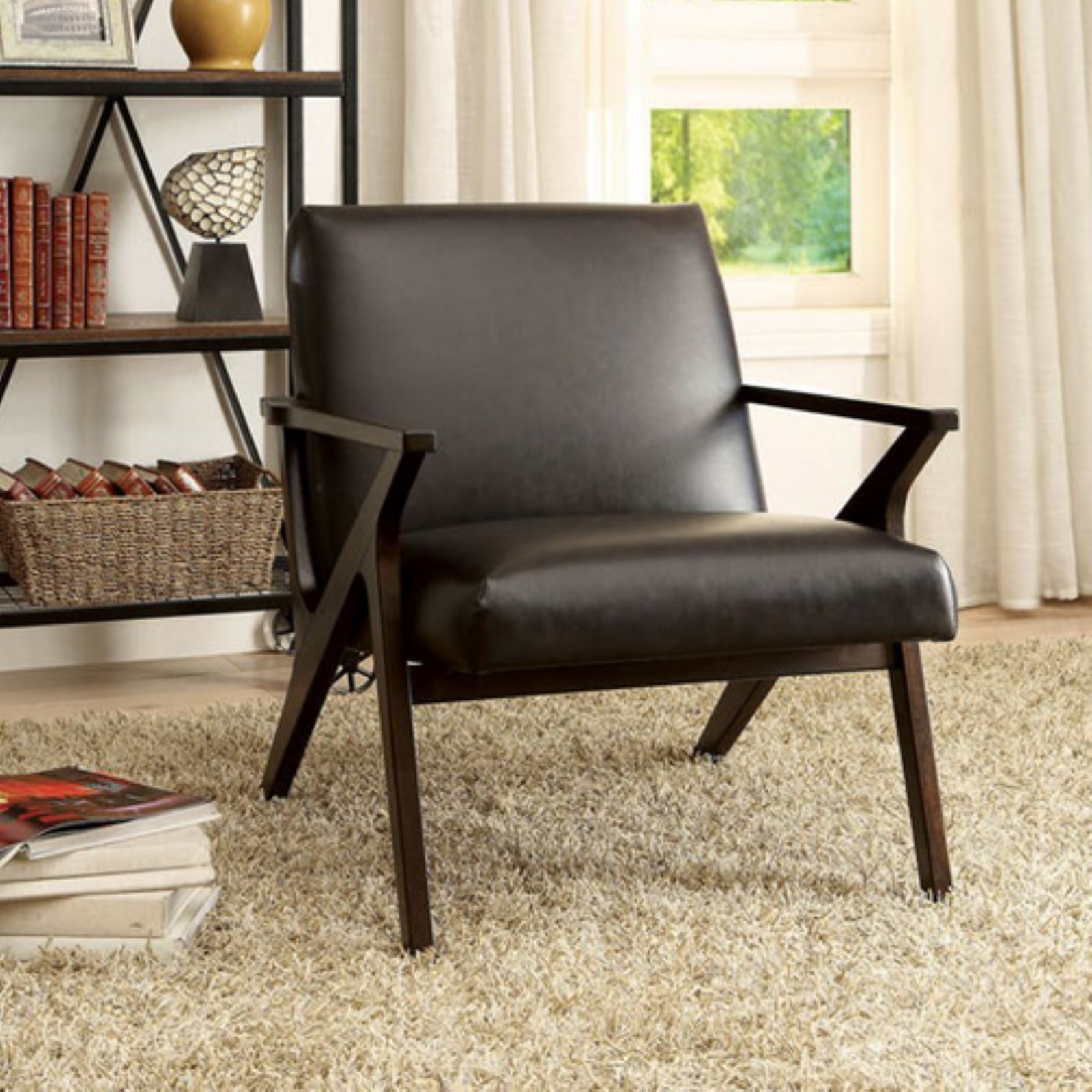 Benzara dubois faux leather accent chair leather accent
