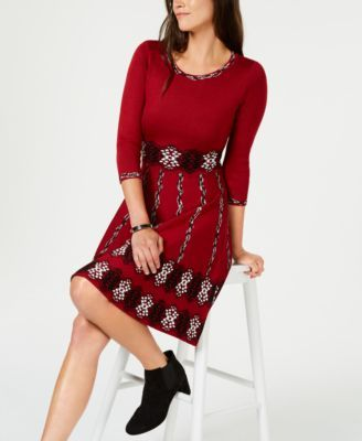 5acaa5c7927 Taylor Jacquard Sweater Fit   Flare Dress - Red XL
