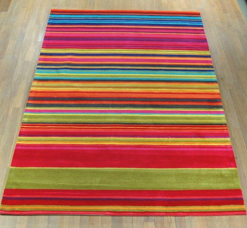 Ikea Striped Rug Runner: Multi Coloured Striped Rug
