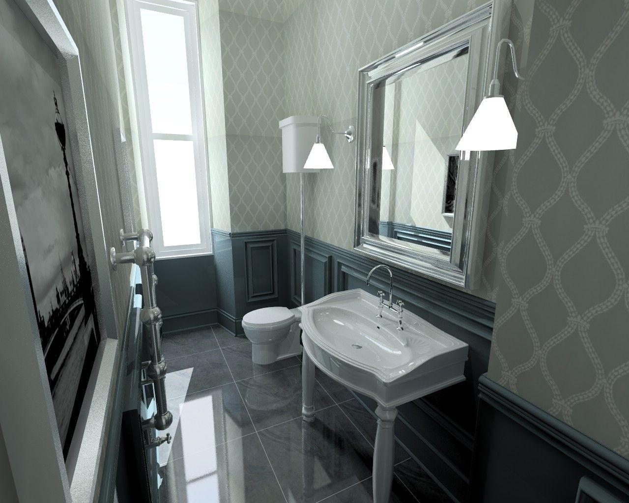 Black lava bathroom. Farrow & Ball wallpaper ...
