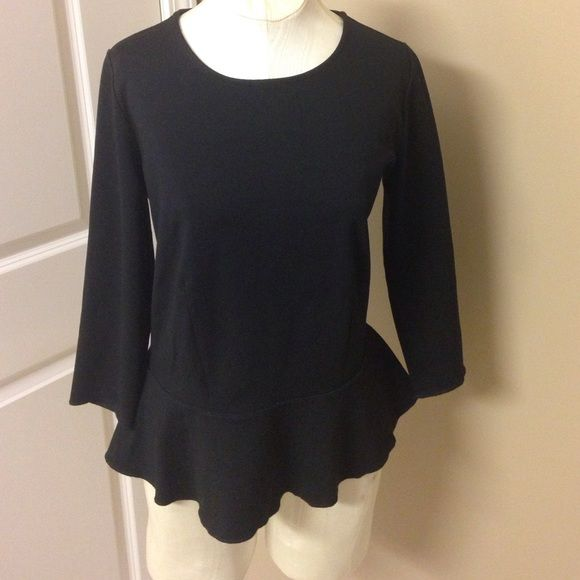 Ann Taylor black peplum LS top Gorgeous peplum top, great for business casual! Thanks for looking  Ann Taylor Tops Blouses