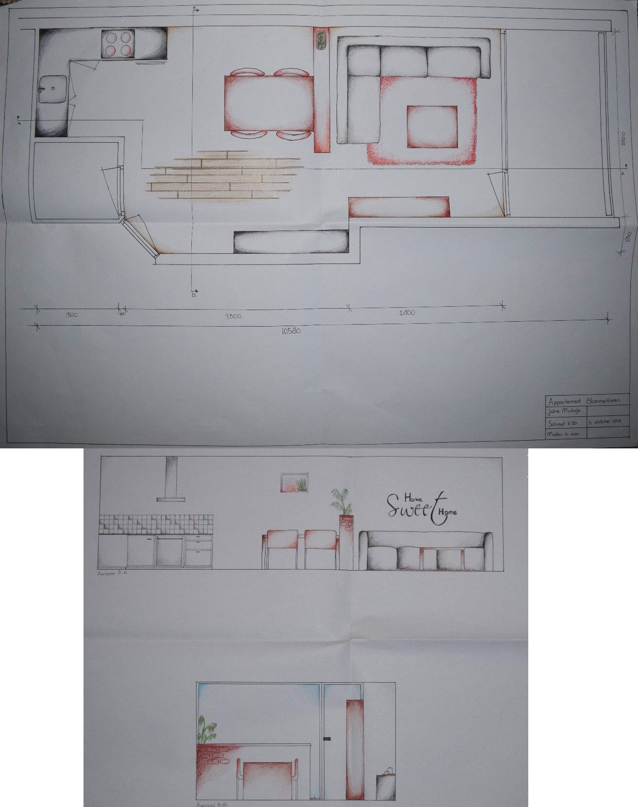 Leerjaar 1 interieur tekenen onze eerste opdracht een for Plattegrond op schaal tekenen