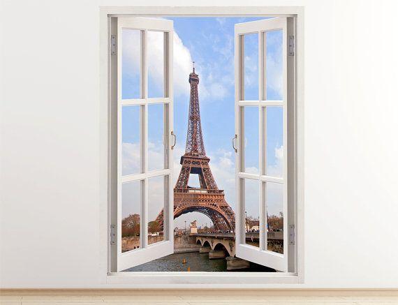 Eiffel Tower Wall Decal Vertical 3D Window By 3DWindowWallStickers