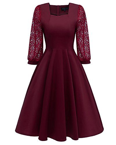 Laorchid Vintage Damen Kleid Spitzenkleid Cocktail A-Linie ...