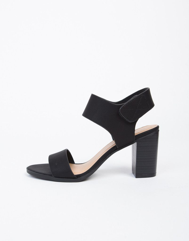 Black sandals with straps - Velcro Chunky Heeled Sandals