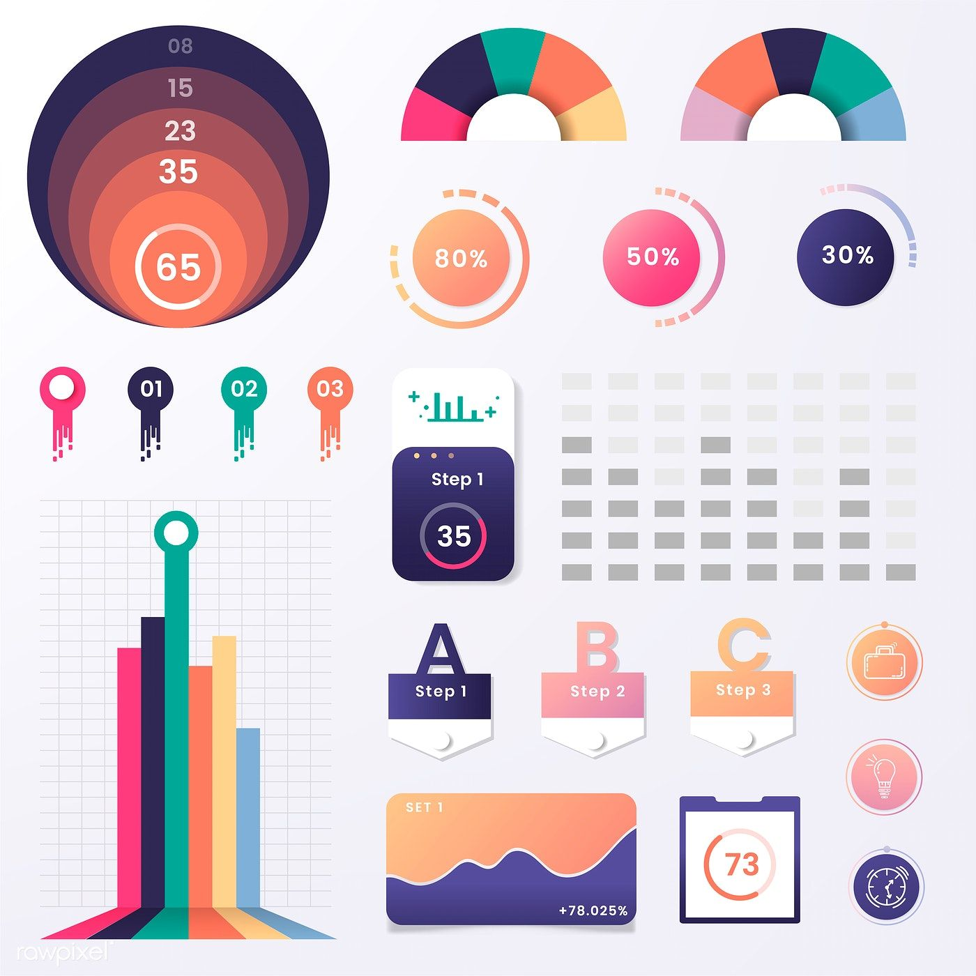 Download premium vector of Colorful infographic element