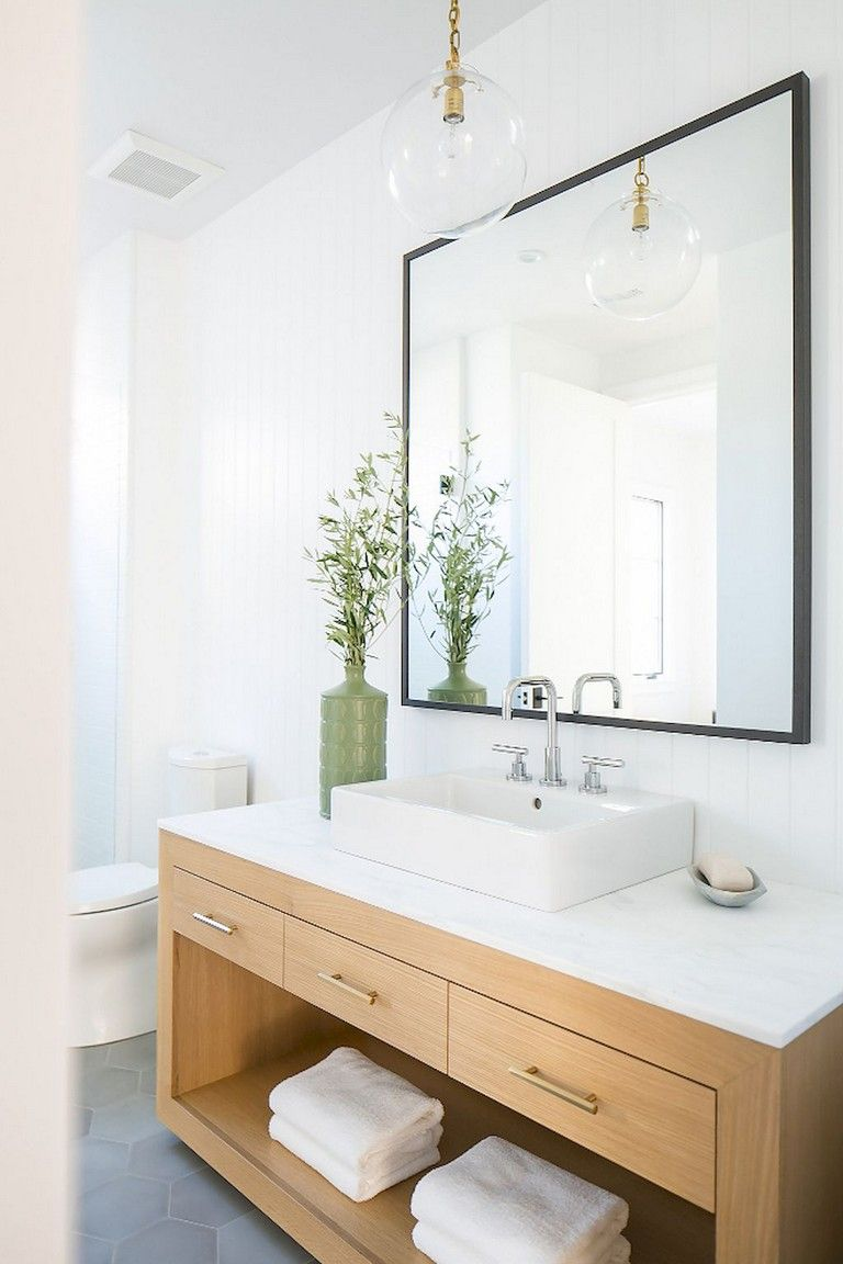 54 Remarkable Modern Farmhouse Bathroom Design Ideas And Remodel To Inspire Your Bathroom Oak Bathroom Vanity Oak Bathroom Bathroom Interior Design