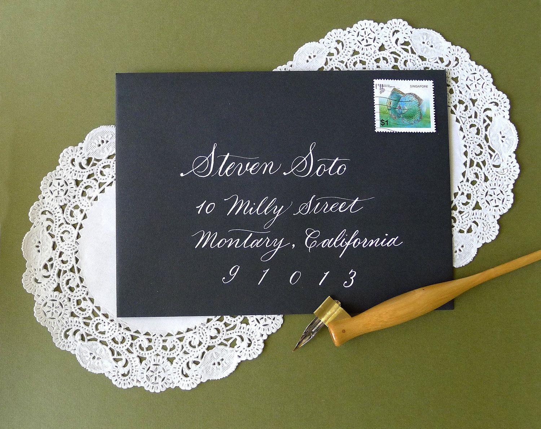 Wedding Calligraphy -Copperplate Style White ink on Black Envelope. $25.00, via Etsy.