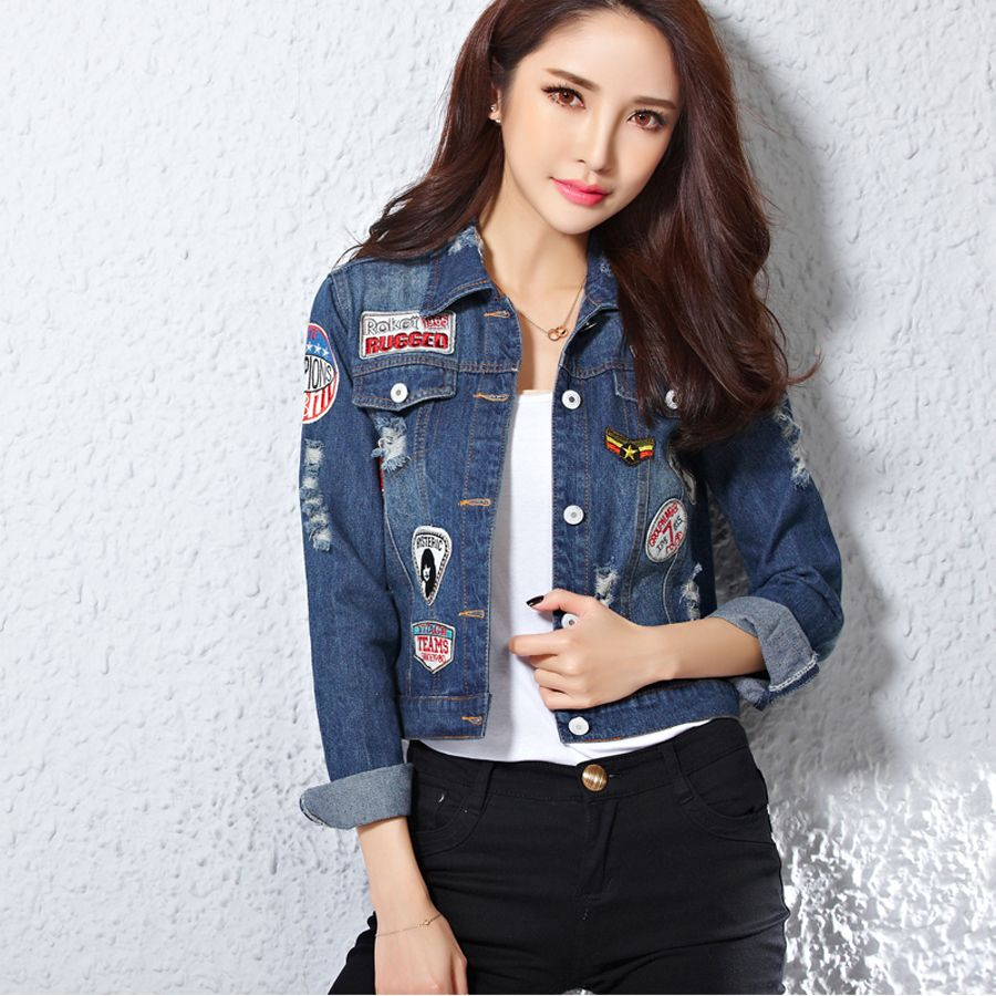 Harajuku Women Patches Blue Jeans Jacket Appliques Denim Jackets ...