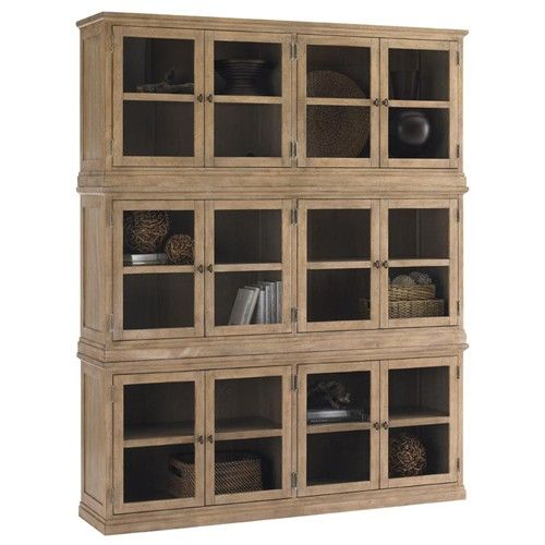 Lexington Monterey Sands Sausalito Glass Door Stacked Curio Cabinet Dining Room HutchDining