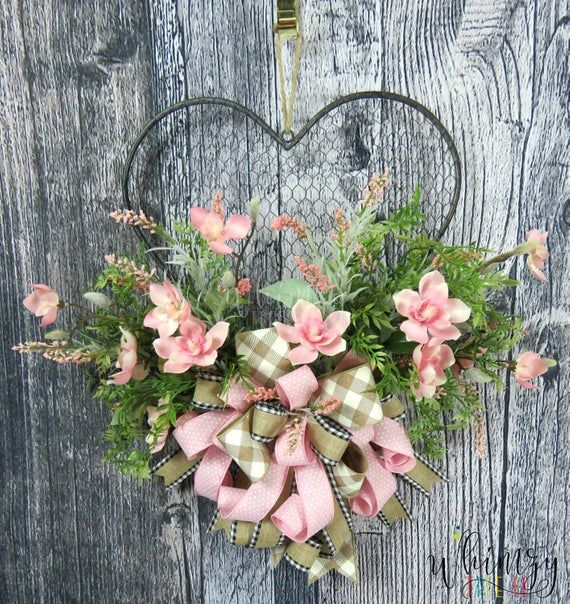 Photo of Wreath for front door-spring wreath-farmhouse wreath-everyday wreath-rustic wreath-country wreath-all year round-chicken wire wreath