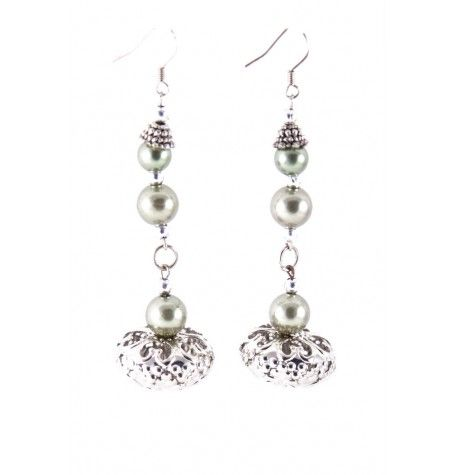 Glamour, elegance, and sophistication is the only way to explain these pearl and silver drop earrings. $12