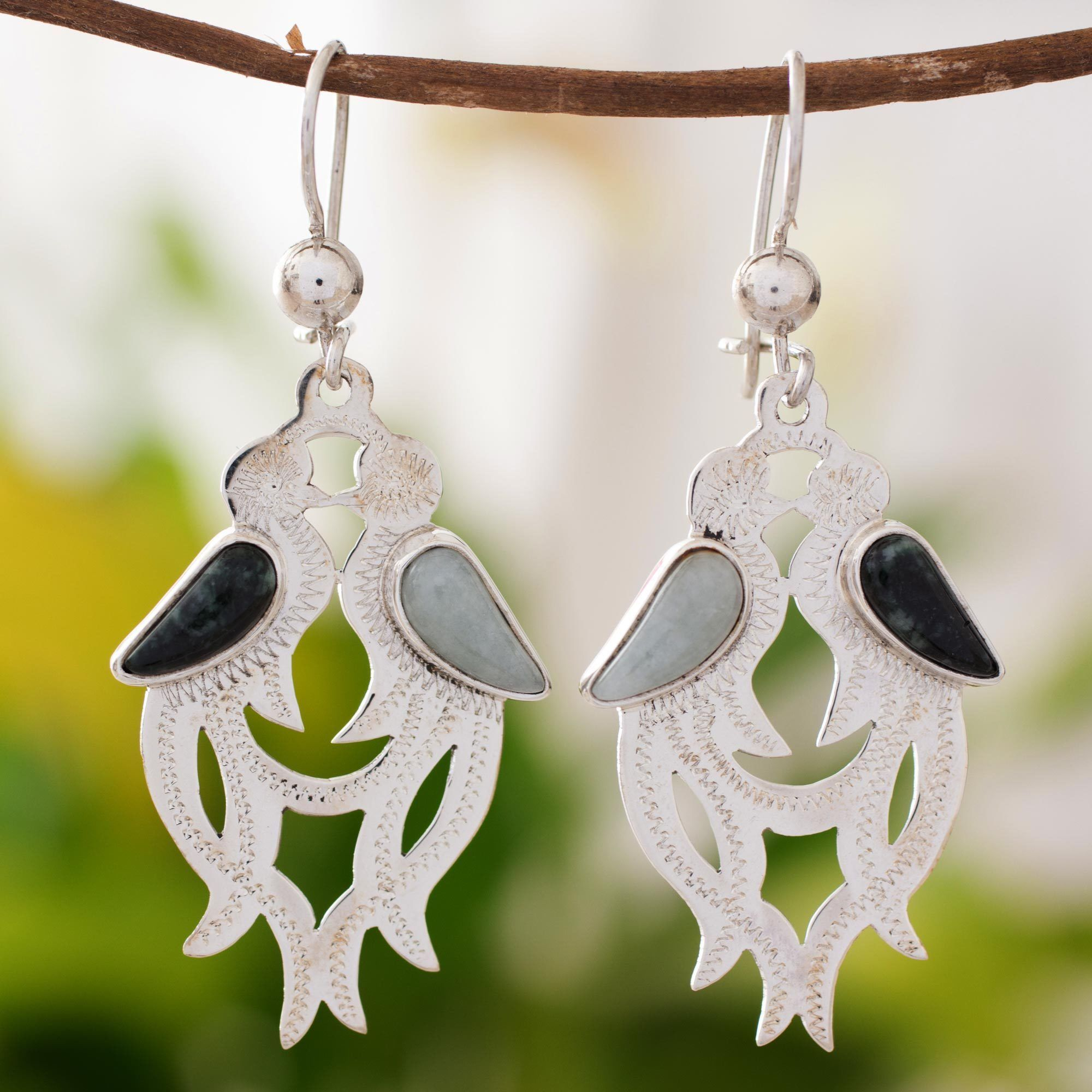 Novica Sterling 'Quetzal in Love' Jade Earrings