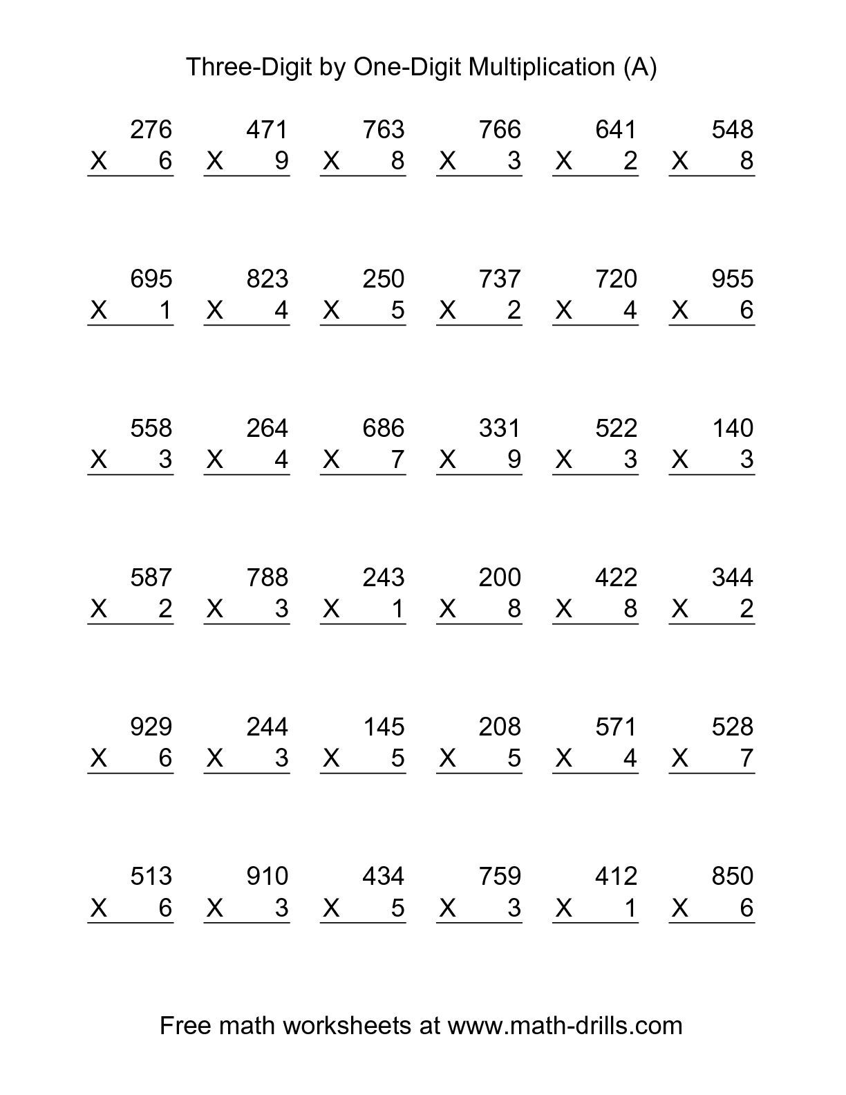 5th Grade Multiplication Worksheets To Free Download
