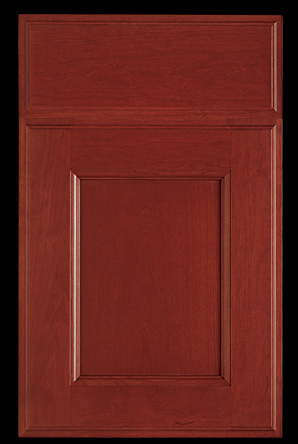 """Brrokhaven """"Cinnabar"""" red finish on cherry wood (note: we would not have the raised beading at the edges of the door and edges of the panel)"""