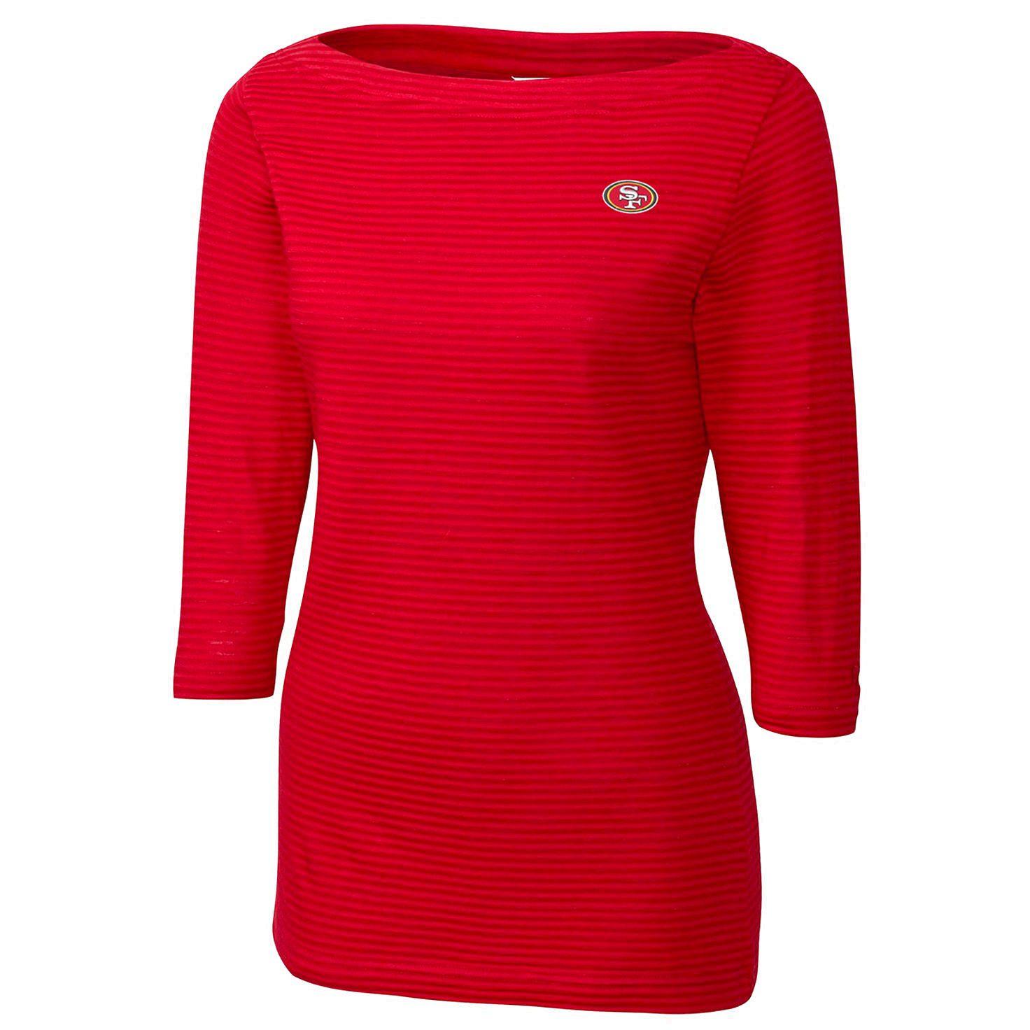San Francisco 49ers Cutter & Buck Women's Holly Park Tonal Stripe 3/4-Sleeve Knit T-Shirt - Scarlet - $51.99