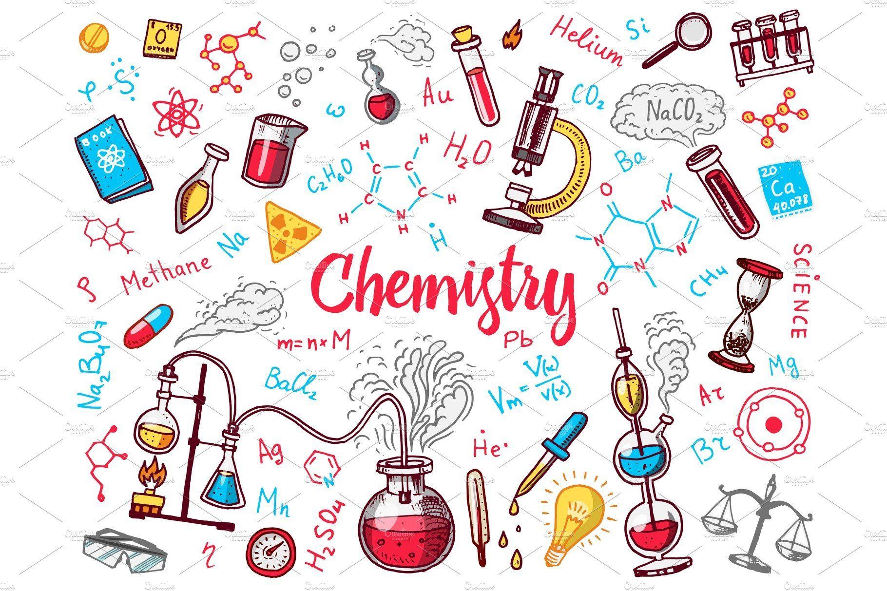 Chemistry Icons Doodle Set By Arthur Balitskiy On